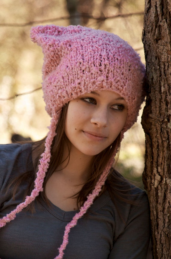 Hand Knit Pink Animal Ear Hat