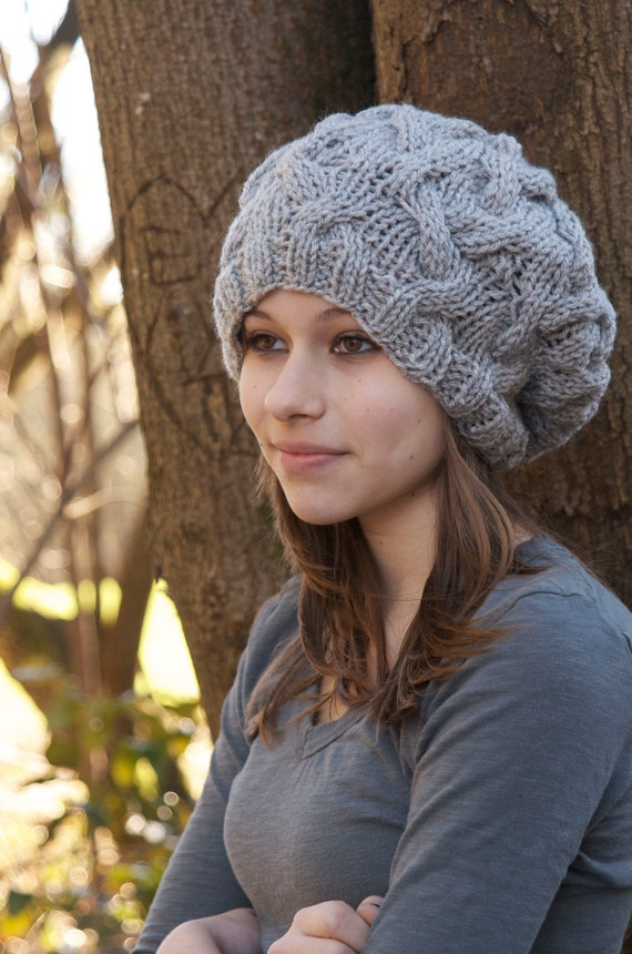 Handmade Gray Cable Knit Slouch Hat
