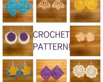 "EMAILED PDF for European Buyers: Crocheted Earrings PDF Pattern ""Dainty Dangles"""