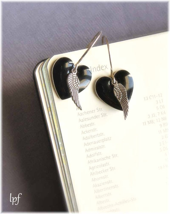 Black enameled heart and wing Earrings -Love has wings- whimsical, steampunk, romantic, gothic, angel, anniversary, dreamy