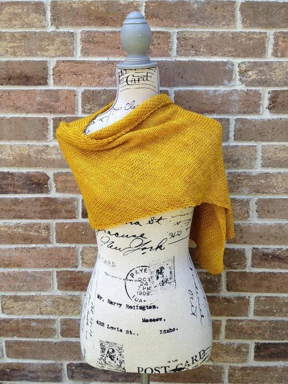 SALE Hand Knit Wrap Amber Yellow - Diagonal Scarf - Unisex, Head Wrap, Prayer Shawl