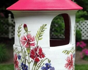 Hanging Bird Feeder With Wildflowers, Ceramic