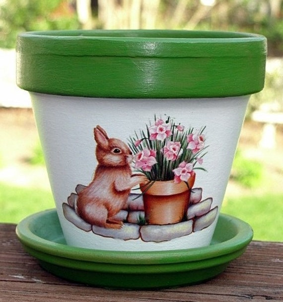 Home Craft Ideas Easter Bunny Flower Pot Craft Flower Pot: Garden Bunny Terra Cotta Flower Pot