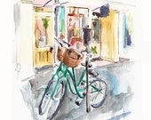 Bicycles on Broad Street, Charleston - print from an original watercolor