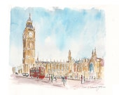 Houses of Parliament, London.  Print from an original watercolour.