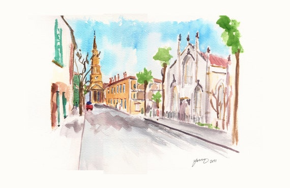 Churches in Charleston, print from an original watercolor