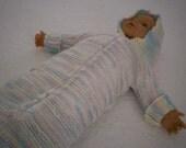 Bunting Handknit w Hood & Zip Front - Size Newborn to 3 Months