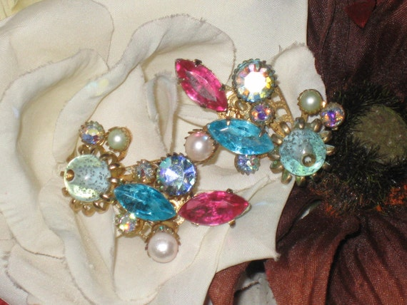 Floral Stone Earrings, Spray Design, Posts, Assorted Stones, Replaced Stones, AB, Pink Turquoise, Pearl