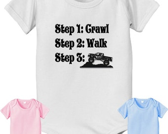 short sleeve and long sleeve Future Off Roading steps crawl walk infant baby bodysuit. white pink or baby blue color off road 4x4 trucker