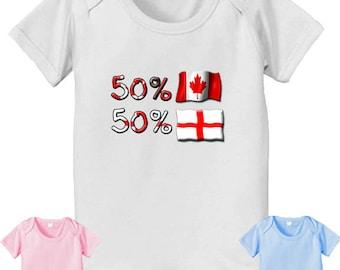 50 Canadian 50 English Bodysuit - Canada Flag - Engish Flag - Canadian Nationality - baby Bodysuit - English Nationality - proud to be