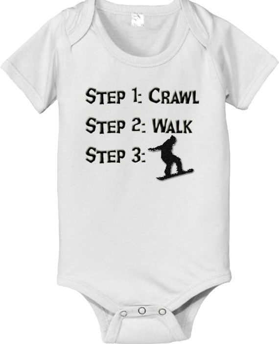 short sleeve and long sleeve Steps crawl walk SNOWBOARDER baby infant bodysuit