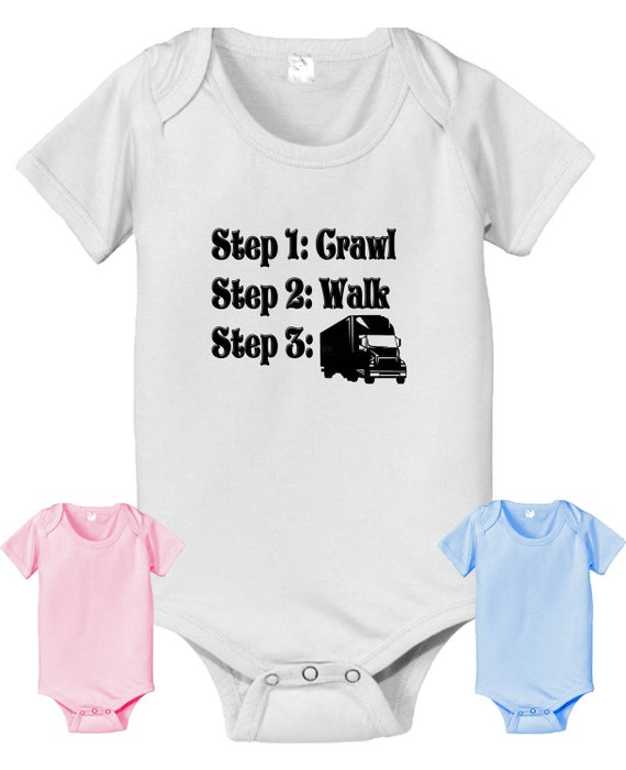 short sleeve and long sleeve Future trucker steps crawl walk infant baby bodysuit. white pink or baby blue color