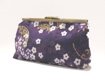 "8"" Clutch - handbag purse asian purple white gold bronze handmade valentine's day for her"