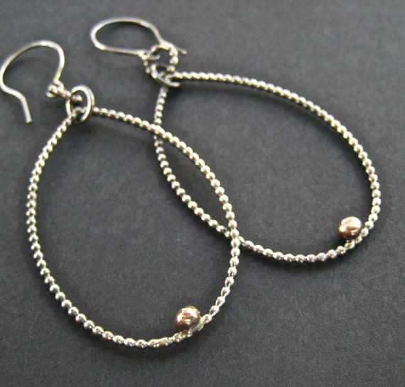 Sterling Silver Hoop Earrings/ Dangle Earrings/ Mixed Metal Jewerly