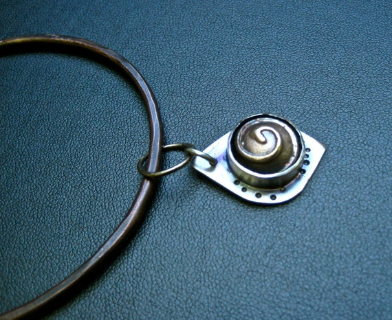 Copper Bangle Bracelet Spiral Charm Mixed Metal Jewelry
