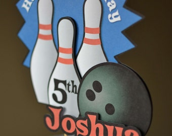 Bowling Birthday Party Cake Topper:  Bowling Decoration 3-D - CUSTOM Name/Age