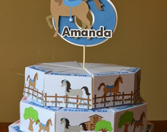 My Little Pony Party Favors for Birthday or Baby Shower,  Horse Decor - Cake Party Favors Box with 3-D Cake Topper - 24 boxes