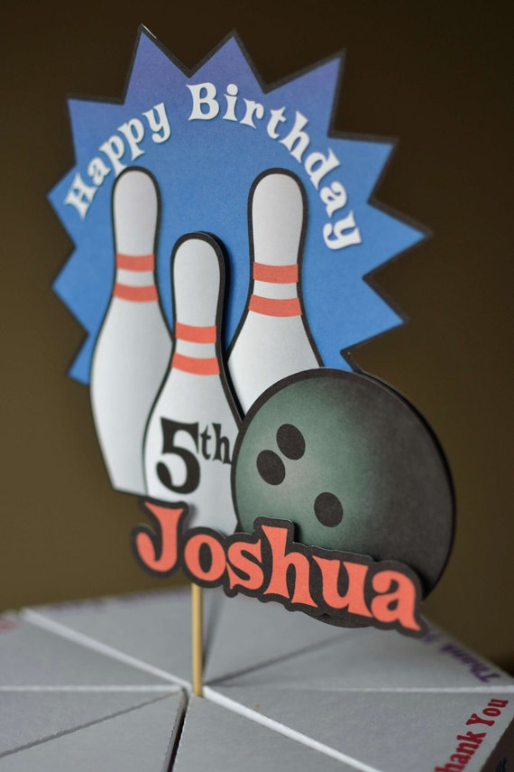 Bowling birthday party cake topper bowling decoration 3 d for Decoration quille de bowling