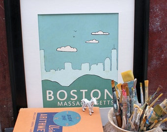 Home Decor Wall Art City Poster // Boston No.1 // Illustration and Typography Skyline Print