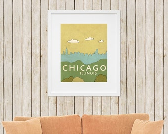 Home Decor Wall Art Print //Chicago No.1// Children Decor Nursery Art Travel City Skyline Illustration and Typography