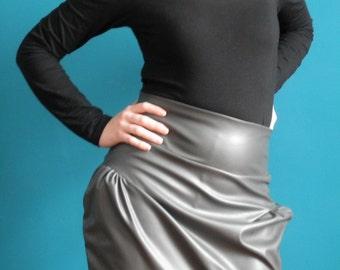 50% DISCOUNT fake leather tulip skirt, ash grey