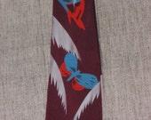 1940s Art Deco Maroon with Butterfly Necktie