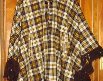 1960s Brown and Gold Plaid Cape with Fringe