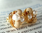 Petite white pearl / gold Star Dust - Mix It Up Series- Swarovski Glass Pearl and Stardust bead Wire Wrapped Stud Earrings