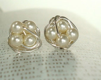 Petite Elegance Stud Earring Collection Cream - Wire Wrapped Stud Earrings - Cream Swarovski Glass Pearl Beads