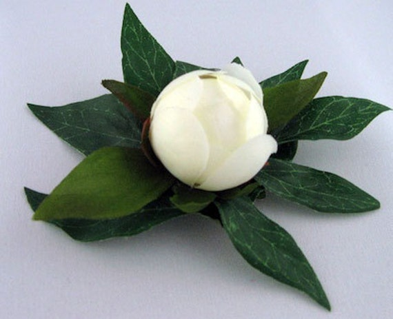 White Silk Peony Bud - LITTLE BUD - Life Like Bridal Wedding Hair Clip Boutonniere Accessory