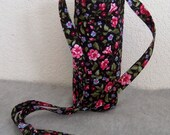 Insulated Water Bottle Carrier - Flowers on Black Background