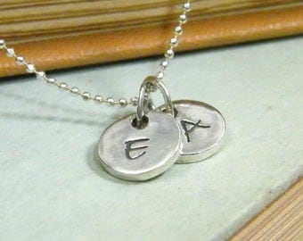 initial necklace tiny dots handstamped alphabet sterling silver two letters