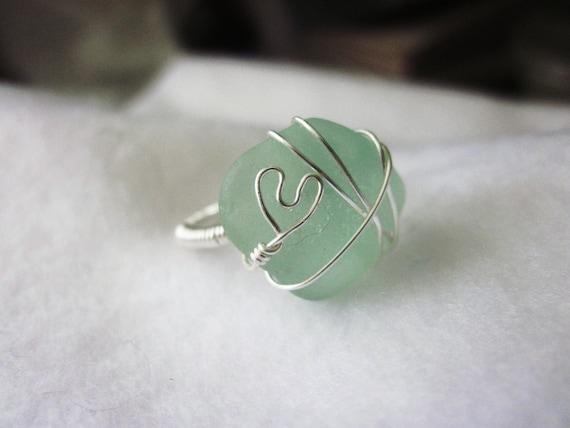 SALE Sea Glass Ring, Sea foam Sea Glass Ring, Sea Glass Jewelry