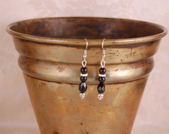 Jet Black Beads and Silver Earrings