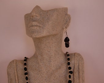 Black Shell and Silver Earrings