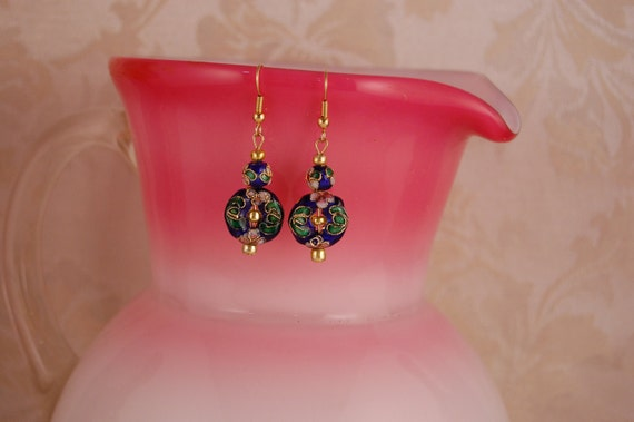 Sapphire Blue Cloisonne with Gold Earrings