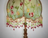 Hold For BFFD - Antique Lamp Handsewn Lampshade  Flower Garden