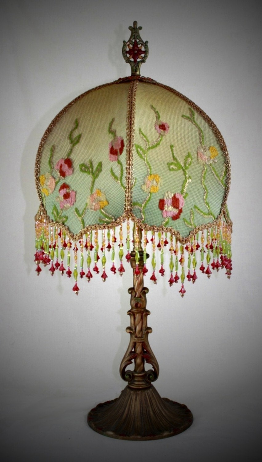 Hold For Bffd Antique Lamp Handsewn Lampshade Flower Garden
