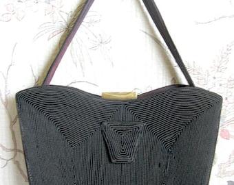 Coronet Dark Brown Corde Handbag Vintage 1950s Cotton Cord Day Purse