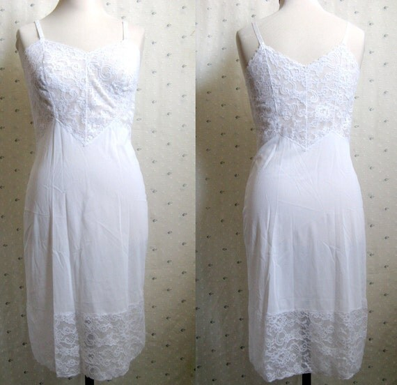 Vintage Full Slip Kayser Luxite White Lace Undergarment Size 32