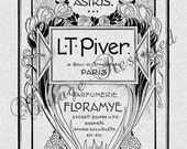 Art Nouveau French Perfume Label Instant Download Digital Download for Iron On Transfer for Burlap, Tote Bags, Tea Towels, Pillows 286