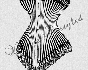 French Corset Instant Download for Iron On Transfer Digital Download for Burlap, Tote Bags, Tea Towels, Pillows 125