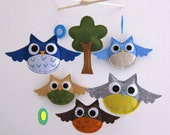Big Eyes Owls Mobile - Baby Mobile - Handmade Baby Boy Crib mobile - Blue and brown Owls Mobile  (Choose Your Felt Color)