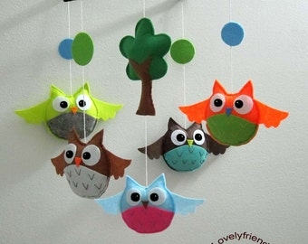 Baby Mobile - Funny Owls and Circles - decorate mobile - baby crib mobile - trees and circles nursery mobile - cute owl baby boy mobile