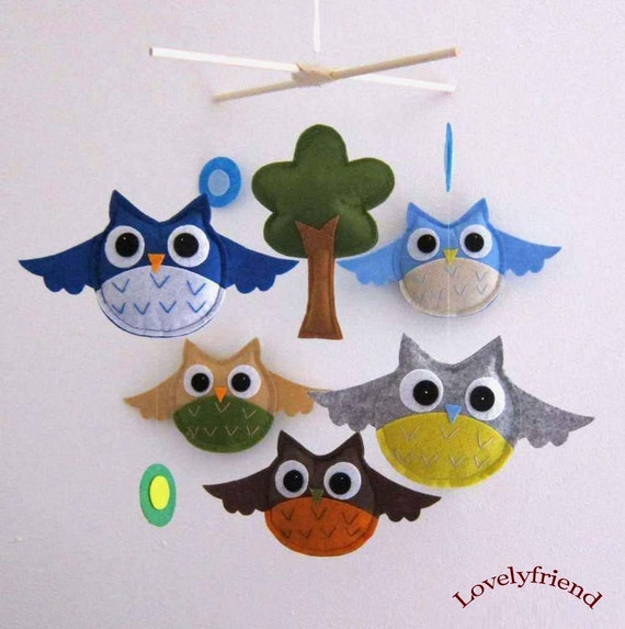Big Eyes Owls Mobile - Baby Mobile - Handmade Baby Boy Crib mobile - Blue and brown Owls Mobile  (Choose Your Felt Color)