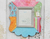 8x10 Decoupage Scalloped Picture Frame - Pinks, Blues, Oranges, Greens