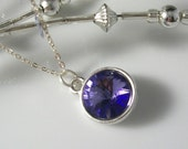 Silver Tanzanite Swarovski Crystal Rivoli Necklace