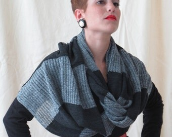 Striped scarf, Loop scarf, winter knit scarf, infinity scarves, grey and black stripes, striped knit, gray scarf shawl, long scarf, knitted