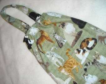 Fabric Plastic Bag Holder and Dispenser - All Cats
