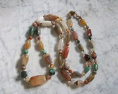 Long Multicolor Polished Agate Necklace Natural Earthtones Jewelry //